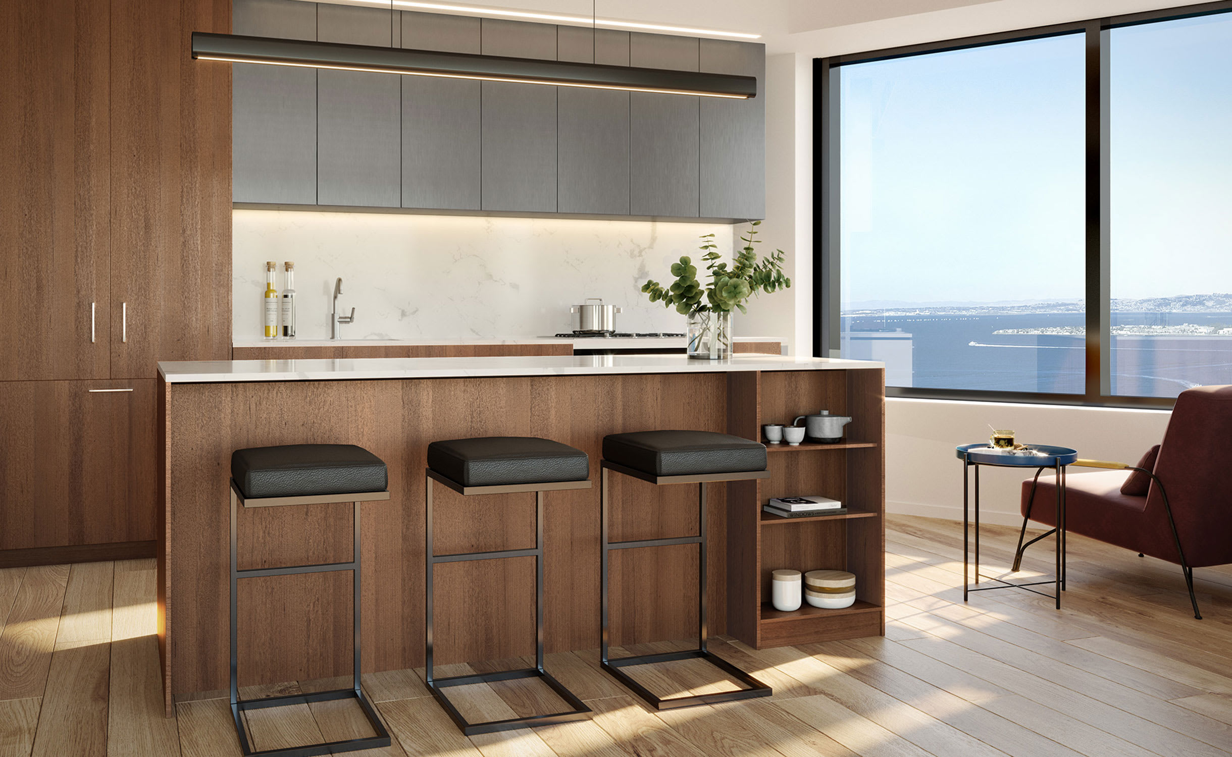 kitchen and view in residence at mira